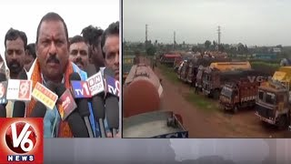 Suryapet District Lorry Operators Participate In Nationwide Indefinite Strike