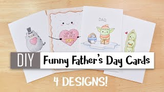 DIY Funny Father's Day Cards Easy – 4 Cute Puns / Card Ideas For Dad !