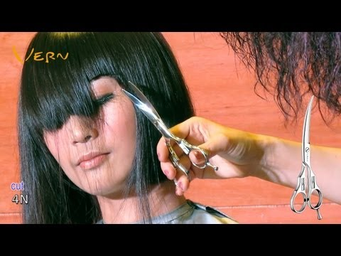 How to cut medium Bob haircut with angled blunt bangs by Cherry?日韓小臉女短髮型設計 Vern Hairstyles 06
