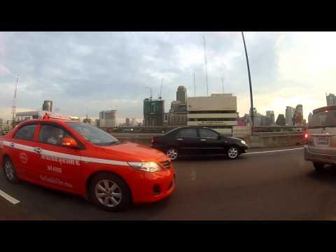 Taxi into Bangkok at Sunset
