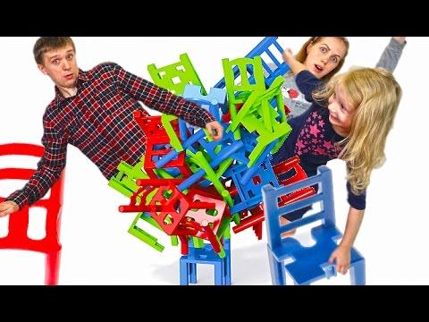 🤸 Строим Башню из стульев Челлендж попробуй устоять на стуле развлекательное детское видео