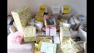Opening gifts from our baby shower!