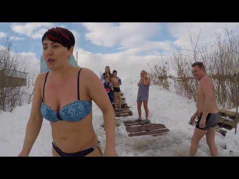 Игорь и Марина Первое Зимнее Плавание