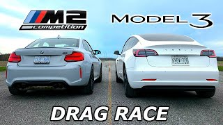 DRAG RACE - Tesla Model 3 vs BMW M2 Competition // Throttle House Track Series