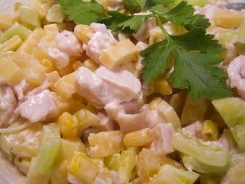 Салат из ананаса и копченой курицы рецепт с