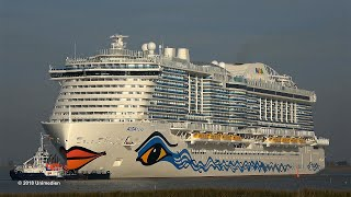 AIDAnova | new record at conveyance giant cruise ship across very small river Ems | 4K-Quality-Video