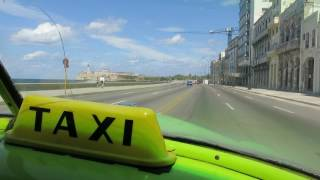 HABANA HAVANA CUBA MARCH 2017 TAXI RIDE on the MALECON