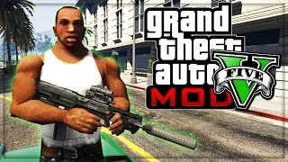 "GTA 5 CJ FROM SAN ANDREAS GAMEPLAY! (Grand Theft Auto V Mod GTA 5 CJ ""Carl Johnson"")"
