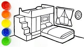 Vẽ và tô màu phòng ngủ cho bé 🍄 Bedroom drawing and coloring for kids, toddlers | Sunny Colours ☆