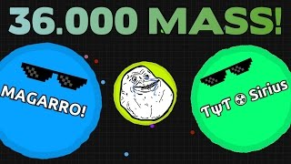 AGARIO (36.000 MASS) CRAZY GAMEPLAY - AGAR.IO LOBBY DESTROYED