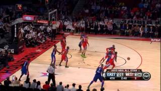 Kobe Bryant blocks LeBron James in the All-Star Ga
