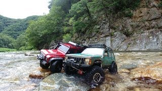 RC CAR 4x4 off road WATER  Adventures JEEP CHEROKEE SCX10II & LANDROVER DEFENDER TRX4