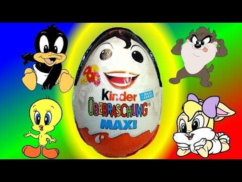 Maxi Kinder Surprise Eggs - Looney tunes baby Eggs unboxing my video Animation