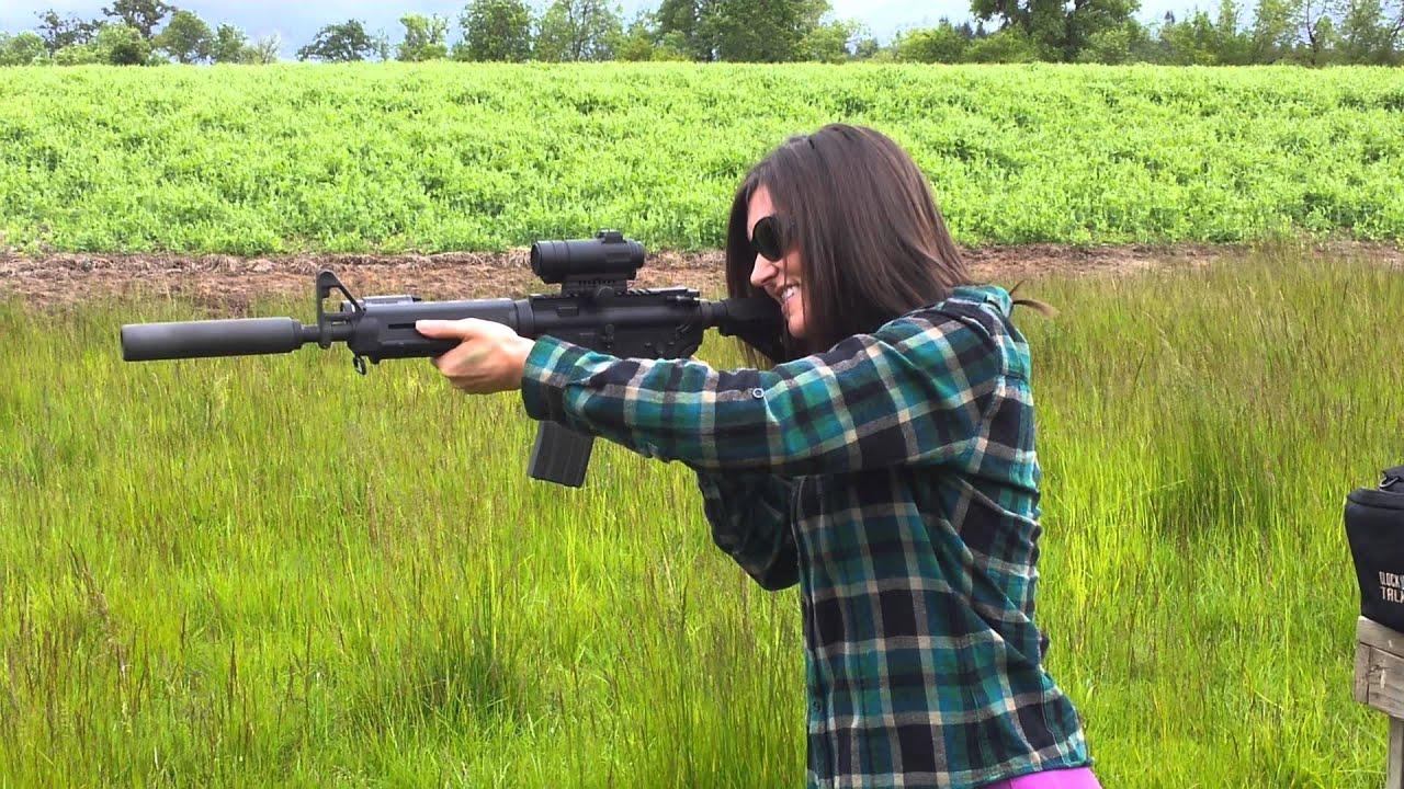 Whetherly shooting AR-15, with silencer