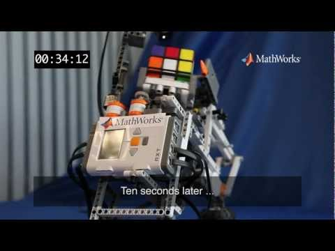 Lego Mindstorms Robot solves a Rubik's Cube using MATLAB and Simulink