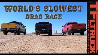 World's Slowest Drag Race #1 (Ram Rebel vs GMC Sierra vs Nissan Titan Gold Winch Ep.3)