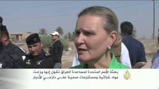 بعثة الأمم المتحدة للعراق توزع مساعدات لنازحي الأنبار