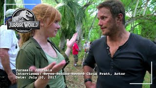 Bryce Dallas Howard Interviews Chris Pratt on Set | Jurassic World