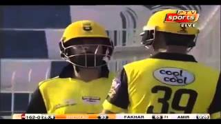 Ahmed Shehzad's 143 runs off 135 balls with 15 fours and 2 sixes today against Sind.