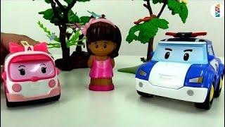 Robocar Poli et Ambre aident une fille. Vidéo avec les jouets ☜♥☞
