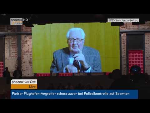 Sonderparteitag der SPD: Videobotschaft von Hans-Jochen Vogel am 19.03.2017
