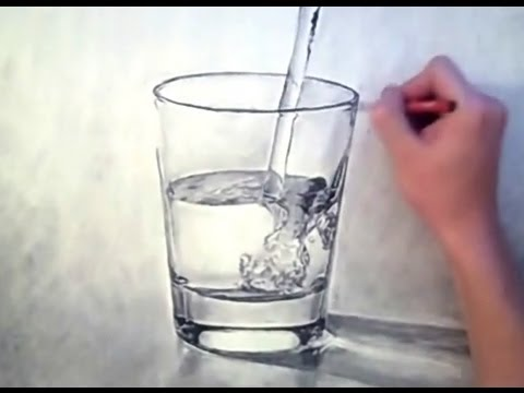 3D looking WATER/GLASS drawing - look for beauty in the mundane - Theportraitart video