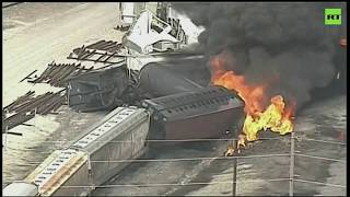 Massive blaze as train carrying flammable liquid derails in Illinois