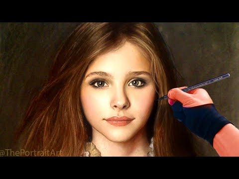 Chloe Grace Moretz Full Color Pastel Portrait Drawing Video