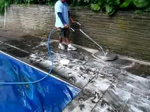 Pressure washing a pool deck with a surface cleaner youtube for Pressure clean pools