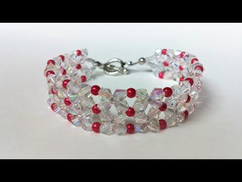 Crystal beads jewelry project. How to make an easy bracelet at home