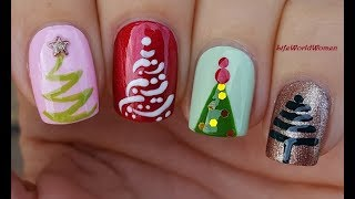 4 CHRISTMAS TREE NAIL ART DESIGNS / Cute Nails For Holidays