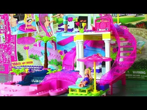 Mega Bloks Barbie Pool Party with Barbie Doll and Ken Doll - Life in a Dream House Music Videos