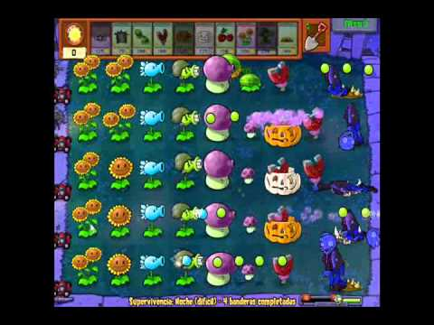 Plantas vs Zombies Supervivencia noche [dificil]