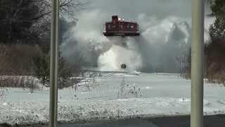 Awesome Train plow through snow railway tracks HD