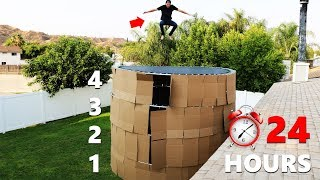 24 HOUR 4 Story Trampoline Box Fort Overnight!! w/ Secret Rooms