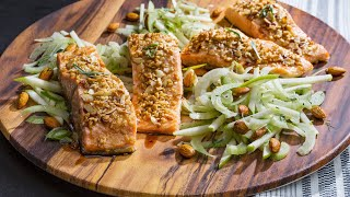 Crispy Honey Nut Baked Salmon w/ Almond-Fennel Salad | Price Chopper Cooking How-To