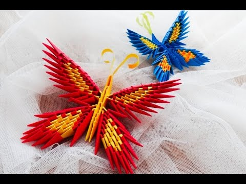 origami motyl krok po kroku / how to make a origami butterfly tutorial 3D