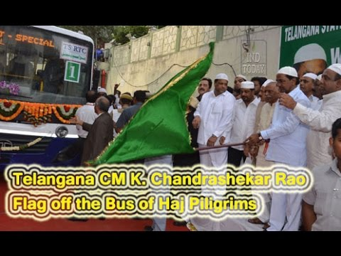 Telangana CM K Chandrasekhar Rao flags off Hajis at Hyderabad |  KCR flags off Haj pilgrims