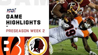 Bengals vs. Redskins Preseason Week 2 Highlights | NFL 2019