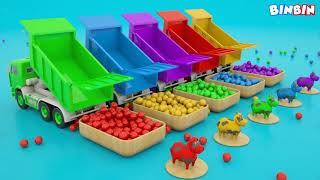 LEARNING COLORS FOR KIDS | ANIMALS FRUTS FOR CHILDREN | TIGER  WATER TRUCK 3D | MAVS FAVORITE
