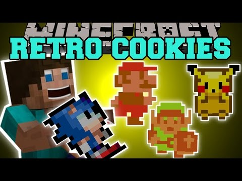 Minecraft: RETRO COOKIES (GAIN POWERS FROM MARIO SONIC LINK & PIKACHU!) Mod Showcase