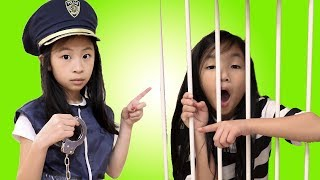 Pretend Play Police LOCKED UP Kaycee in Jail Playhouse for NOT Wearing Helmet