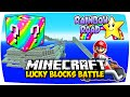 MINECRAFT: RAINBOW LUCKY BLOCKS RAINBOW ROAD MOD PVP CHALLEN...