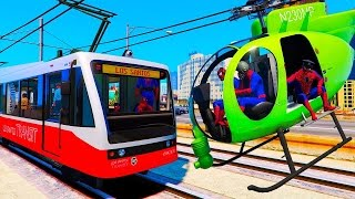 Trains and Green Helicopter for Kids - Fun Video with Nursery Rhymes Songs for Children
