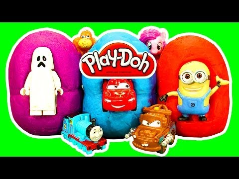 How To Make Play Doh Surprise Eggs Kinder Style Pinky Pie Minion Lego Disney Cars2 Trash Pack Toys video