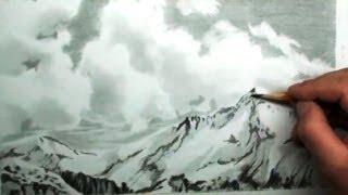 Рисование карандашом видео уроки снежные вершины