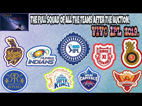 #SPORTS | THE FULL SQUAD OF ALL THE TEAMS AFTER THE AUCTION FOR THE VIVO IPL 2019 | #UNIQUE WORLD*%|