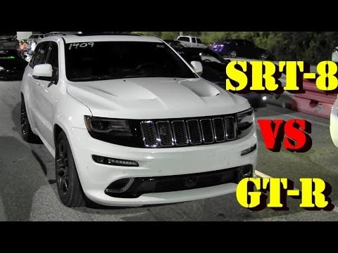 6.4 L SRT8 Jeep Grand Cherokee vs Tuned GT-R - 1/4 mile Drag Race Video - Road Test TV