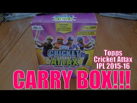 COMPLETE CARRY BOX OPENING! ☆ Topps CRICKET ATTAX Indian Premier League 2015-16 Trading Cards