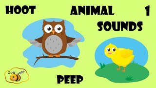 Animal sounds cartoon for kids toddlers children to learn. First words flash cards